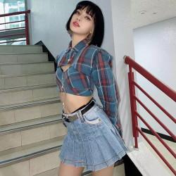 Jupe courte plissée en laine (Grise)